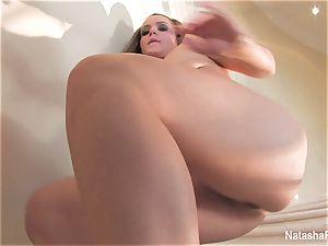 spectacular pornographic star Natasha jerks on the stairway