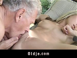ultra-kinky blondie seduces elderly dude to tear up