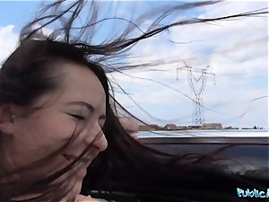 PublicAgent super-fucking-hot black haired Russian poked on a car