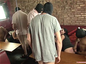 Michelle Thorne and young cockslut gangbang pulverize with group