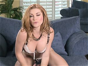 cool clean-shaved Heather Vandeven gets real warm and insane for one sexy have fun