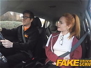 fake Driving college nice ginger-haired Ella Hughes pokes
