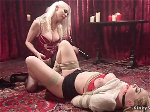 ash-blonde sub caned and ass fucking fisted