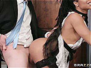 super-fucking-hot dark-hued maid nearly get caught