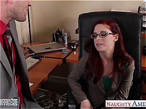 redhead sweetie in glasses Penny Pax pulverize in the office