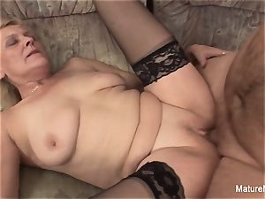 senior granny takes a poon boinking on the couch