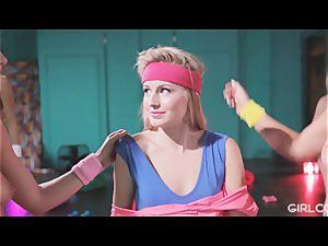 GIRLCORE Aerobics Class Leads to girl-on-girl drizzling hump