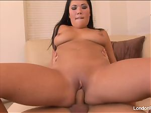 sexy honey London Keyes lets him cum on her immense tits