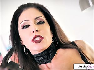 Jessica Jaymes demonstrate her ginormous orbs and little wet cunny