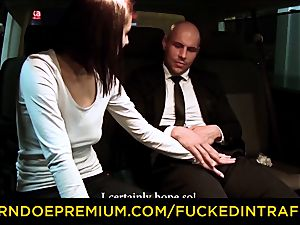 plumbed IN TRAFFIC - cab car romp with Czech brown-haired