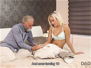 DADDY4K. woman rides old gent s joystick in dad porno flick