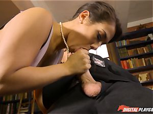 Headmistress Eva Lovia plays with her crazy student