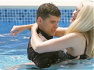 gorgeous Izzy gets her cock-squeezing towheaded cooter pounded by the pool