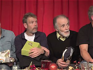 old young fucky-fucky nine elderly studs two teenagers gonzo Christmas intercourse