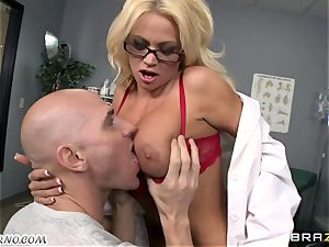 Dr. lust with silicone bra-stuffers humps her assistant