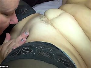 OldNanny lesbos gal with giant udders