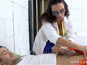 marvelous prison medic Ariella Ferrera masturbates off her patient