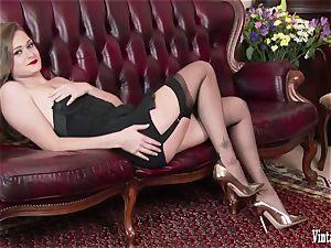 brunette bursting to jism in antique harness nylons jerk