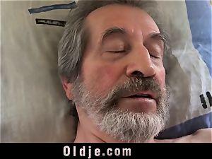 teenager nurse damsel Dee boink approach for sick old patient