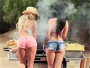 bikini stunners Riley Steele and Katrina Jade all girl tryst