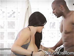 Romi Rain and Kenzie Taylor take turns on a big black cock
