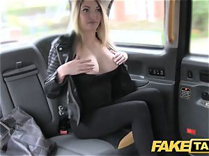 fake cab footjob and fat cum shot for lovely smooth-shaven beaver