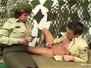 Military granny boinks him in the barracks