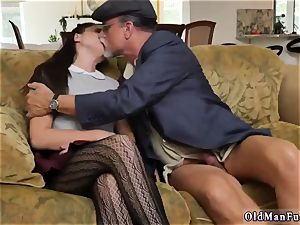 humungous brunette unexperienced railing the old chisel!