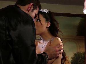 dirty Maid Asa Akira analled by the chief
