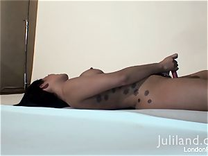 London Keyes toying with her faux-cock
