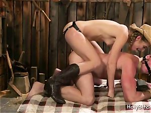 towheaded fucks a man in His backside With strap dildo