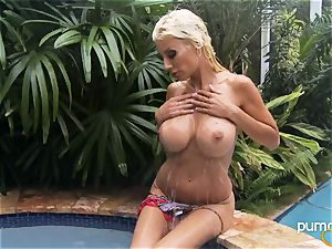 Puma Swede super-hot honey smoking while in the pool