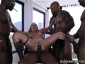 Cherie DeVille gets gang-fucked by huge ebony cocks