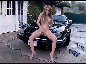 Randy Alexa Nicole tantalizes her dribbling pantie pot