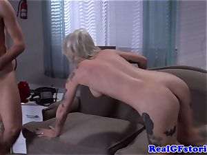 Tattood blond cougar nailed in butt hole