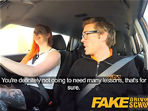 faux Driving college tatted sandy-haired craves a giant hard-on