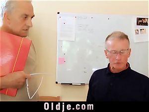 youthfull assistant penetrates elder knob suck off facehole cum-shot