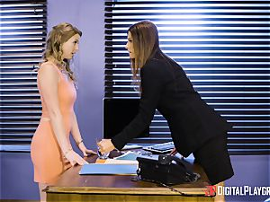 India Summers and Sunny Lane cooch tribbing action in the office