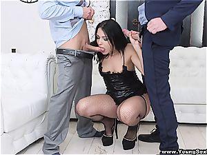 young courtesan gets a tough dp by 2 businessmen
